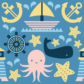 Sailing Pattern Blue Background