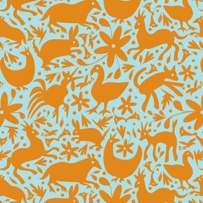 Mexico Springtime: Orange on Light Blue (Small Scale)