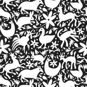 Mexico Springtime: White on Black (Small Scale)