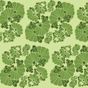 4 Flowers in greens