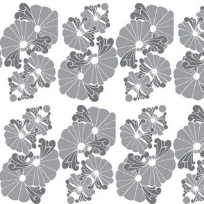 4 Flowers in gray & white