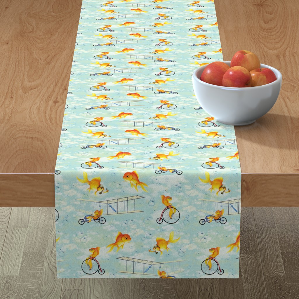 Minorca Table Runner featuring Fish on Blue by katherine-appleby