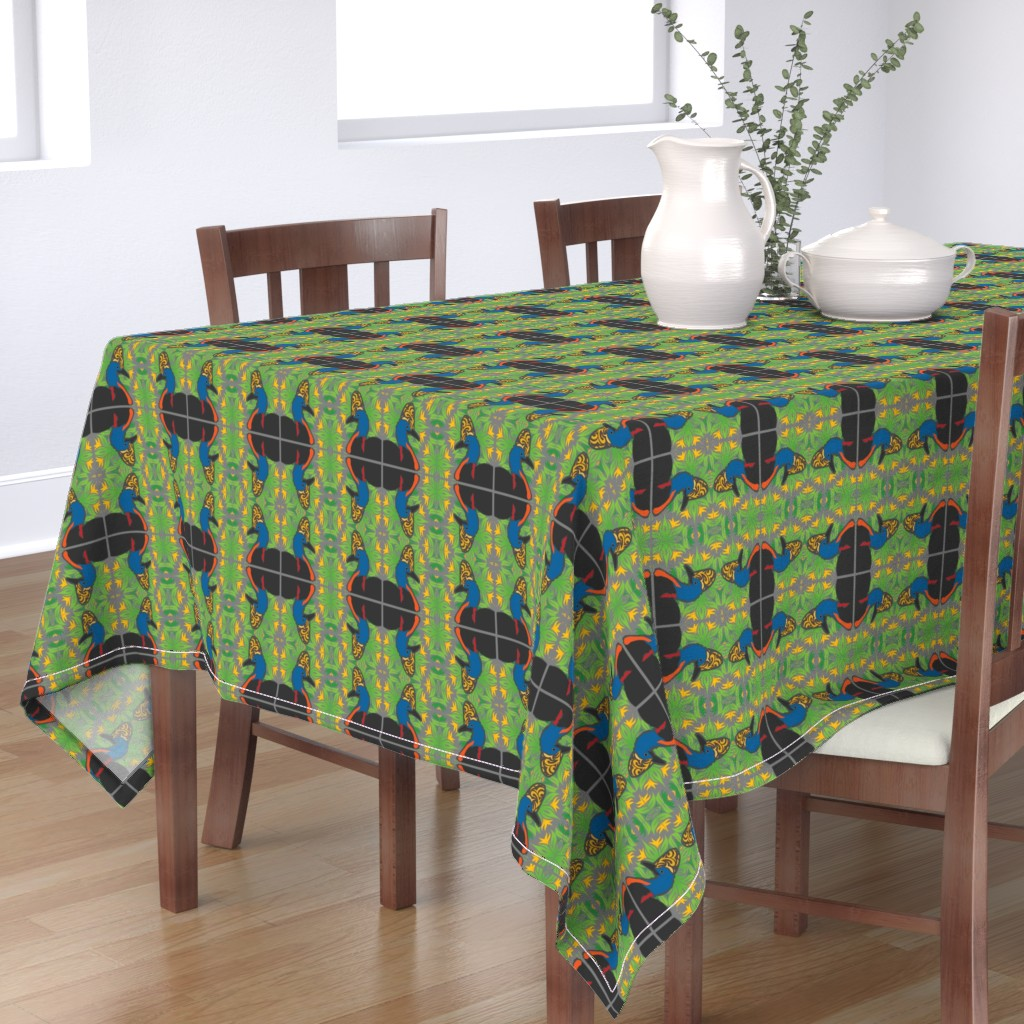 Bantam Rectangular Tablecloth featuring Cassowary's all around by kfrogb