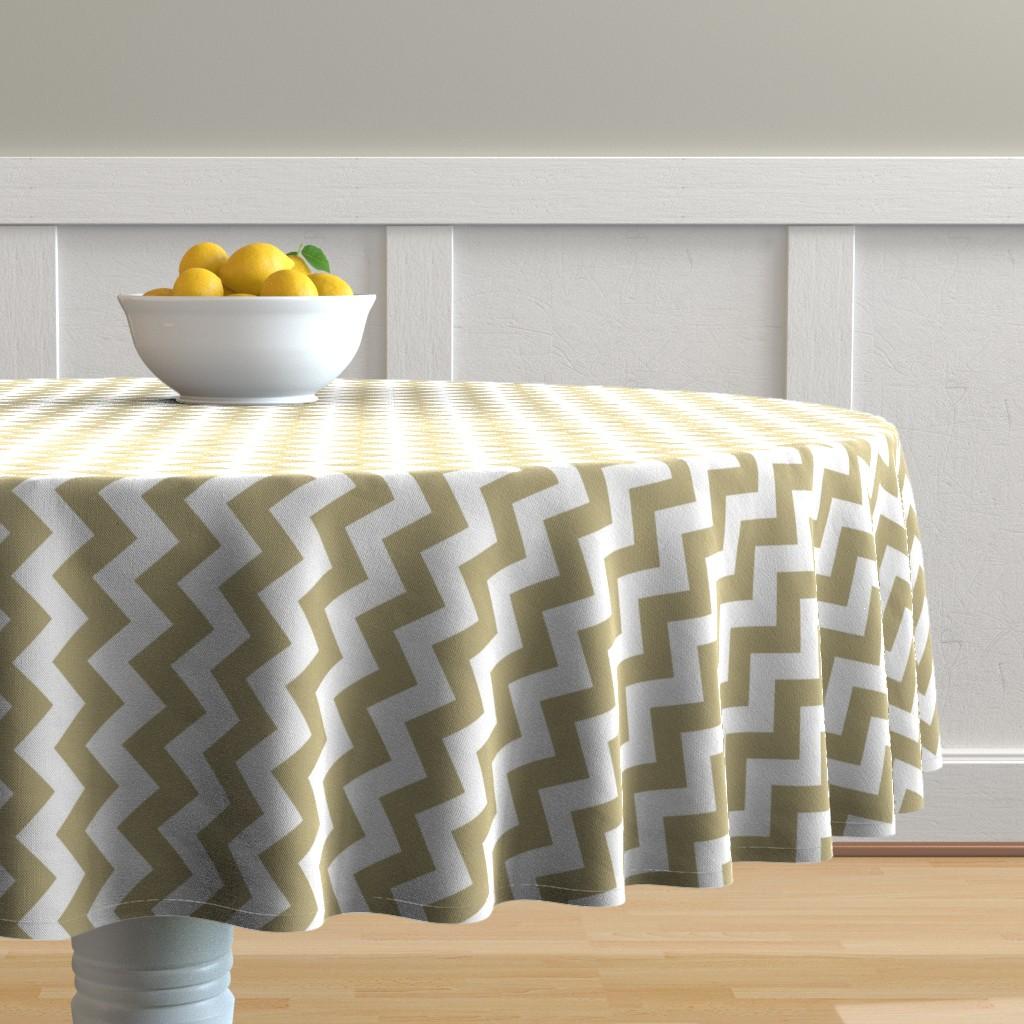 Malay Round Tablecloth featuring Chevron Railroaded Khaki by littlerhodydesign