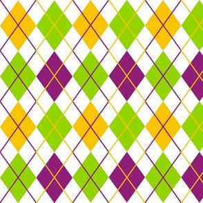 Mardi Gras Fat Tuesday White Argyle