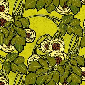 Art nouveau floral in greens
