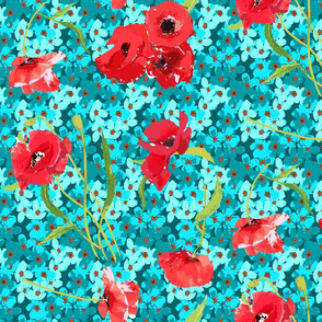 poppies and forget me not bouqet aqua flowers