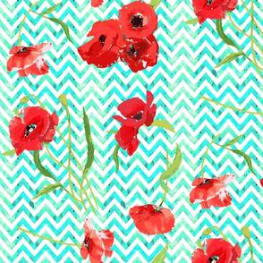aqua watercolor chevron and poppies