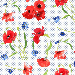 poppies and forget me not flowers