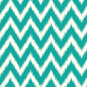 Teal and Ivory Ikat Chevron