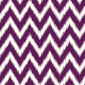 Plum Purple and Ivory Ikat Chevron