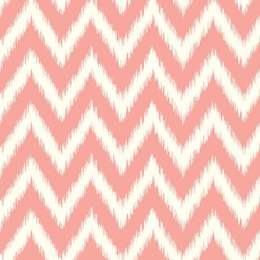 Pink and Ivory Ikat Chevron