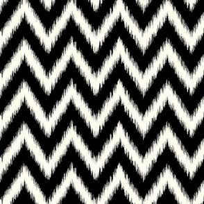 Black and Ivory Ikat Chevron