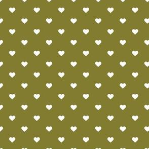 Olive Green Polka Dot Hearts