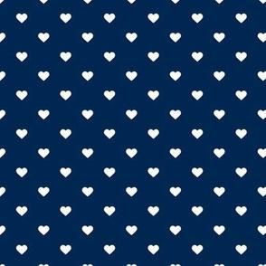 Navy Blue Polka Dot Hearts
