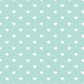 Mint Polka Dot Hearts