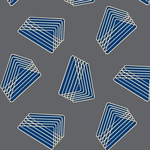 Floating Stacked Triangles - Gray and Blue