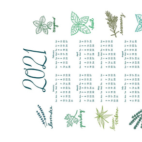 2021 herbs tea towel calendar