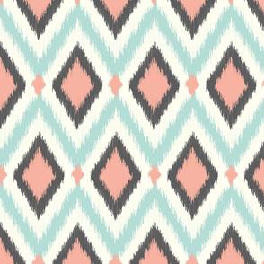 Aqua Pink and Gray Tribal Ikat Chevron