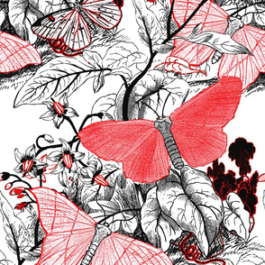 Moth Ridden Botanical ~ Red, Black & White and Tight