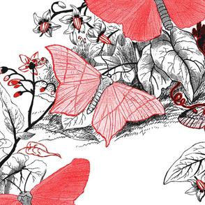 Moth Ridden Botanical ~ Red, Black & White