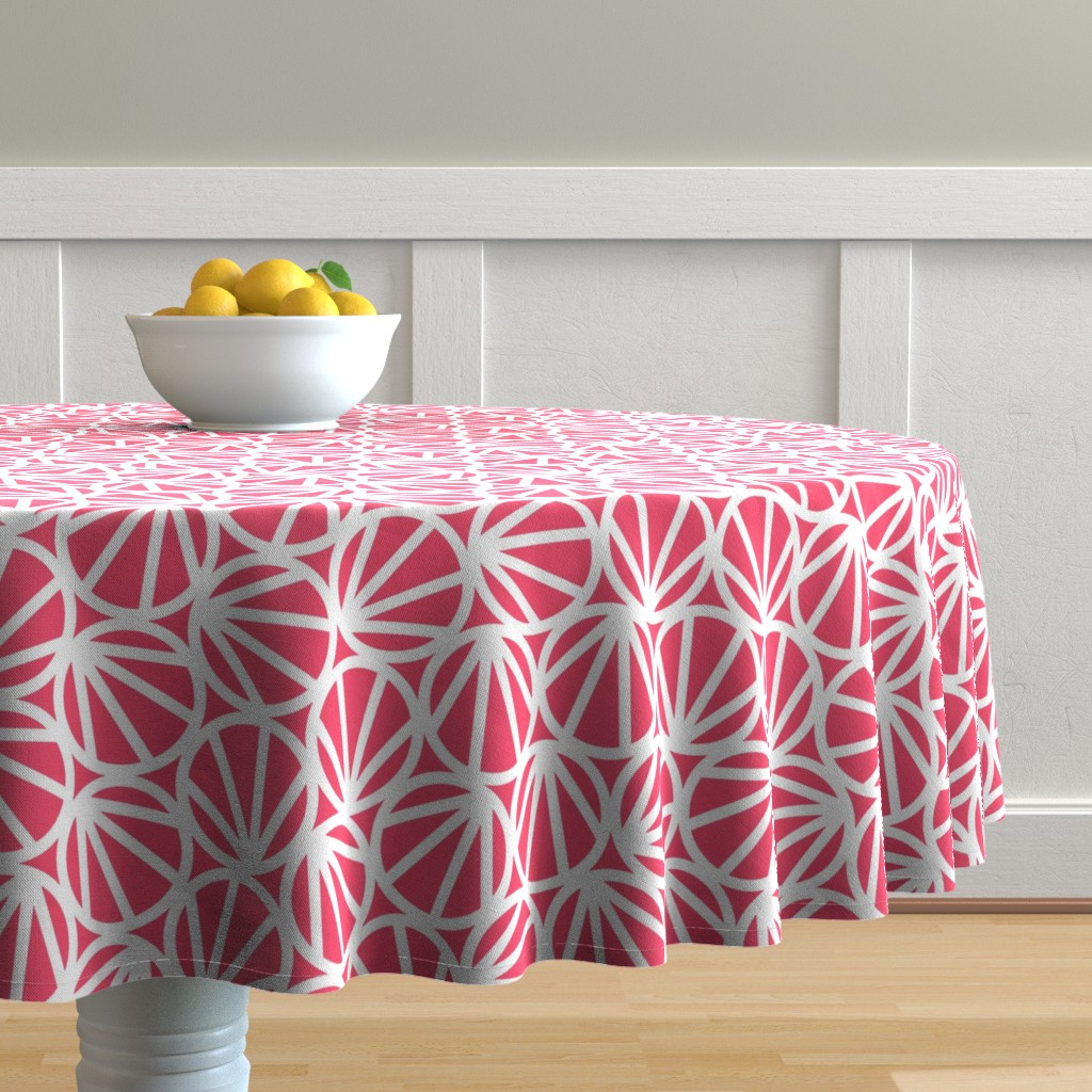 Malay Round Tablecloth featuring MARI - Coral Pink by hitomikimura