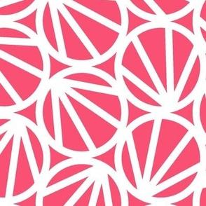 Mari - Geometric Circles - Coral, White Line - Large Scale