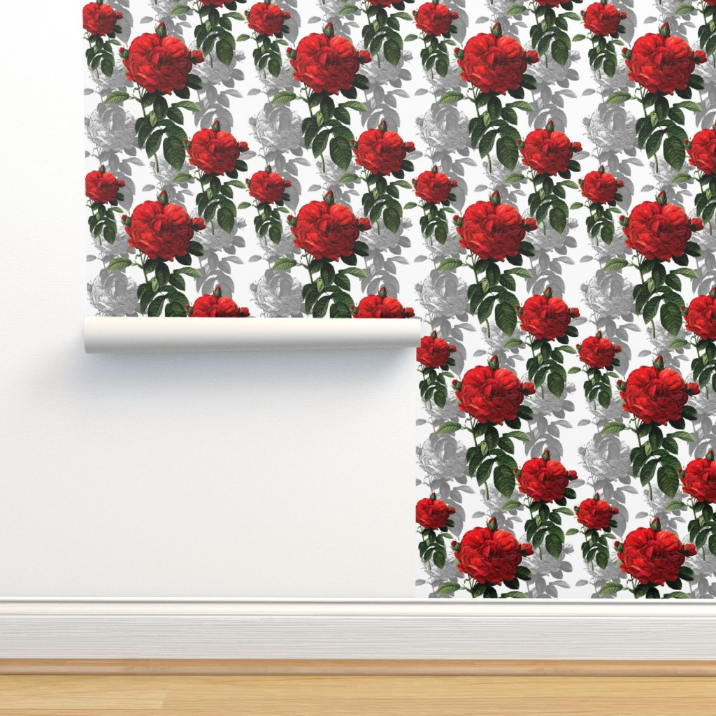 Isobar Durable Wallpaper featuring Redoute' Roses ~ Red and Grey by peacoquettedesigns