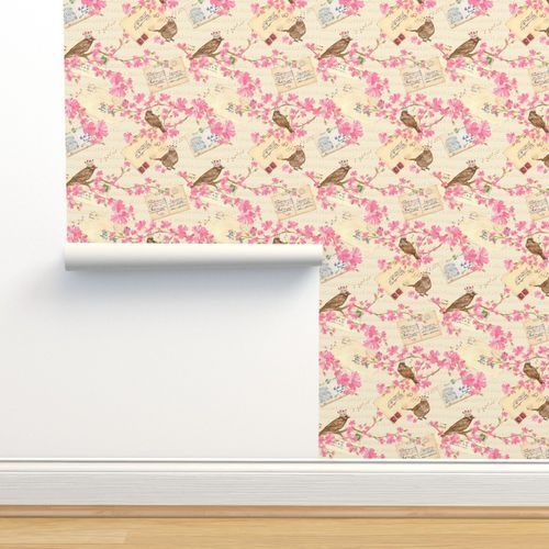 Wallpaper Vintage Love Letters And Cherry Blossoms