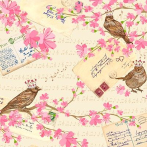 Vintage Love Letters and Cherry Blossoms