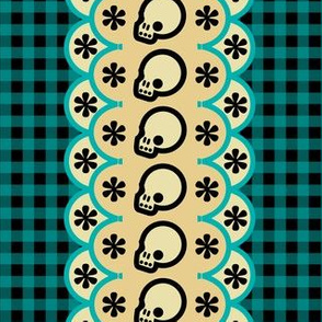 Kitchen Skull Gingham Black