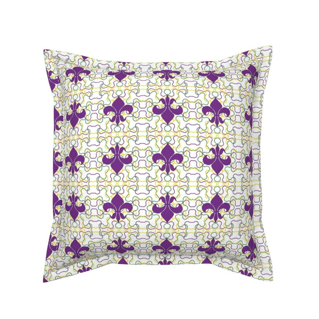 Serama Throw Pillow featuring Beads and Fleur de lis by careyruhl