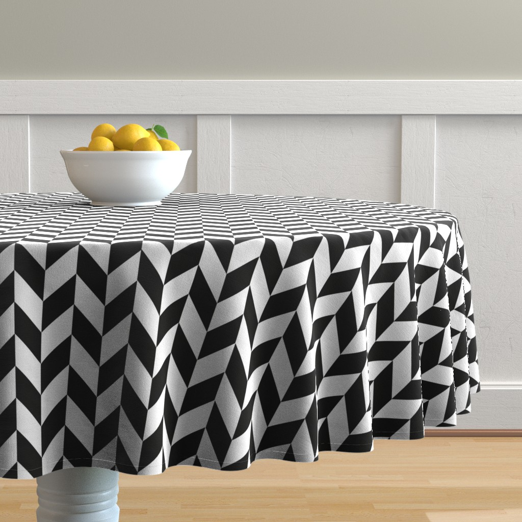 Malay Round Tablecloth featuring Small Black-White Herringbone by gates_and_gables