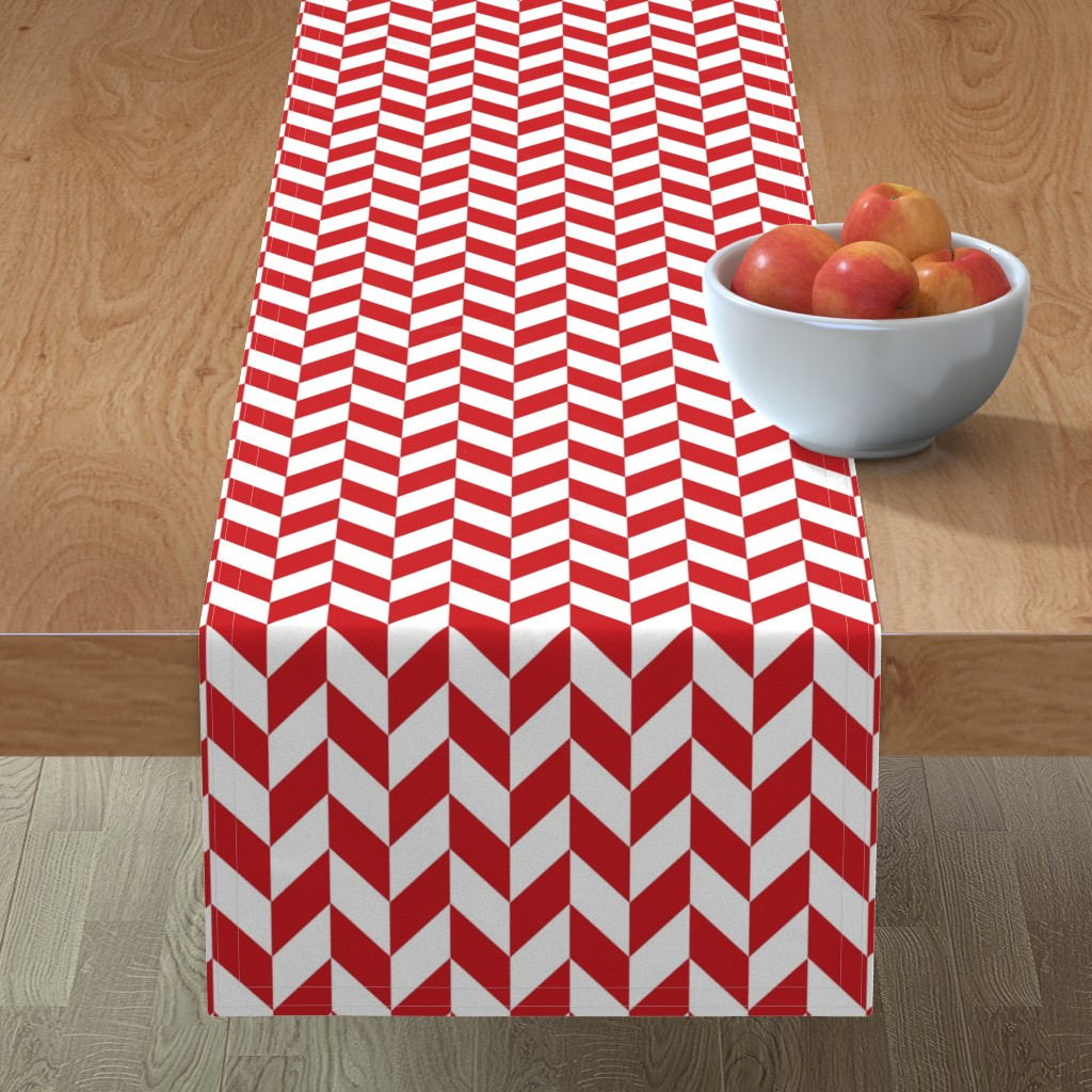 Minorca Table Runner featuring Small Red-White Herringbone by gates_and_gables