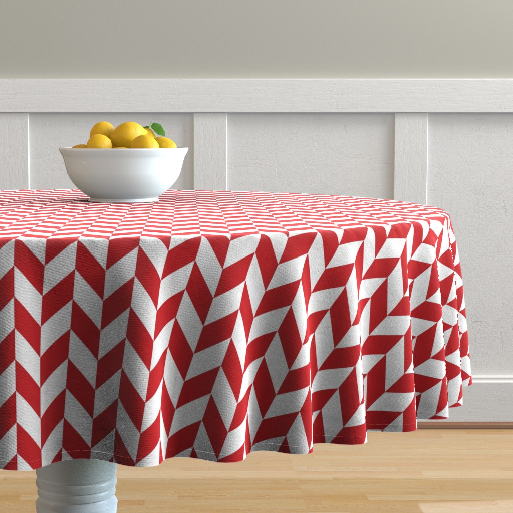 Malay Round Tablecloth featuring Small Red-White Herringbone by gates_and_gables