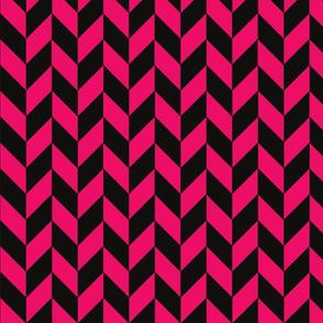 Small Black and Pink Herringbone
