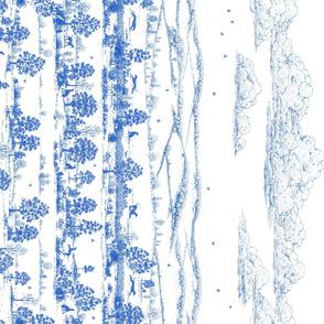 Blue Toile Greyhound landscape panel
