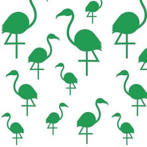 Flamingos in Kelly Green on White
