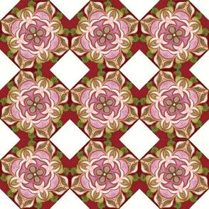 Fashionable Foxy European Pink Red Floral Mandala