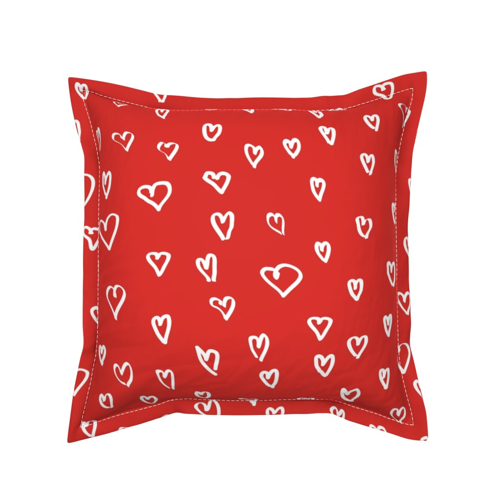 Serama Throw Pillow featuring Small Hearts M+M Currant by Friztin by friztin