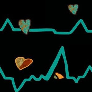 Heartbeat writ in turquoise