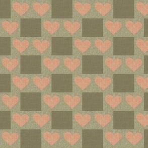 Heart to Heart Checks - taupe, salmon, brown