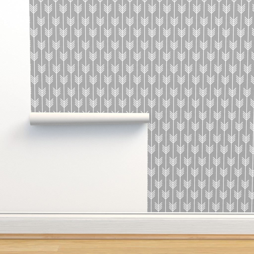 Isobar Durable Wallpaper featuring arrows_light_grey by holli_zollinger