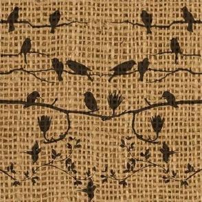 birds on burlap