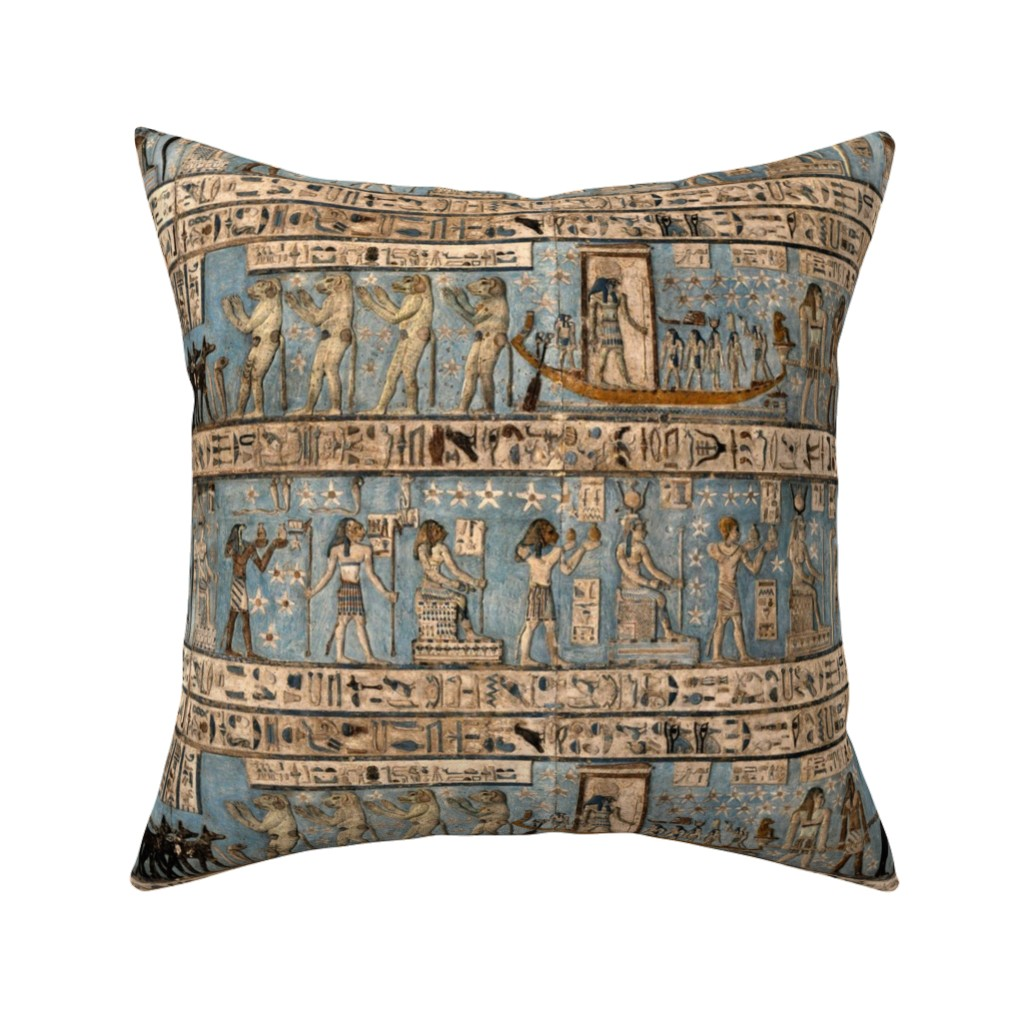 """Catalan Throw Pillow featuring """"Egyptian Hieroglyphs"""" by jeanfogelberg"""