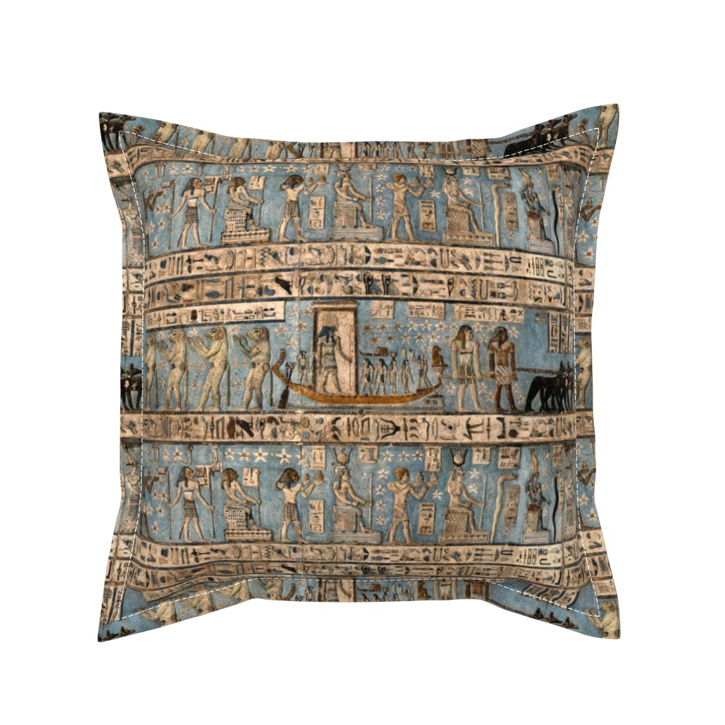 "Serama Throw Pillow featuring ""Egyptian Hieroglyphs"" by jeanfogelberg"