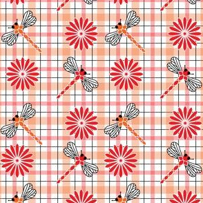 Orange_Dragonflies___Flowers_Plaid