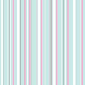 Seafoam, Pink & Gray Stripes