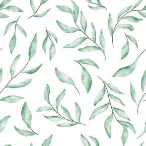 Watercolor soft green leaves