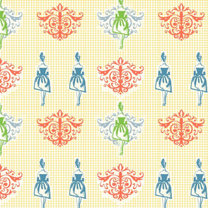 French Femme Fashions in Peach, Blue and Green